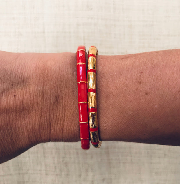 Solange Bamboo Enamel Bangle Red