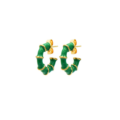 Solange Bamboo Mini Hoops Emerald