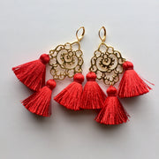 Rita Tassel Earrings Red