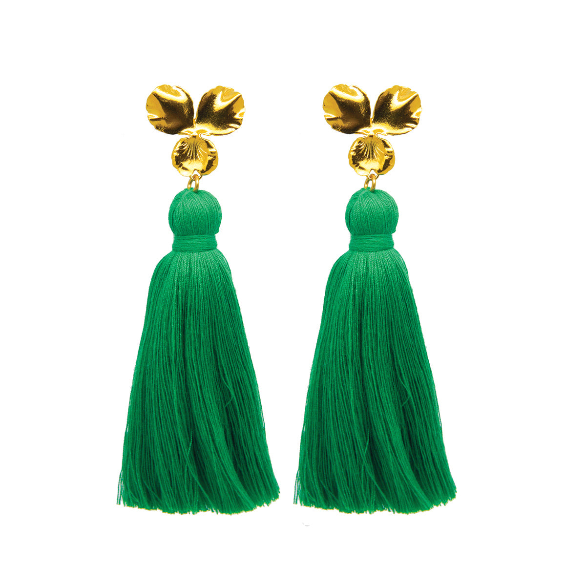 Margo Tassel Earrings Green