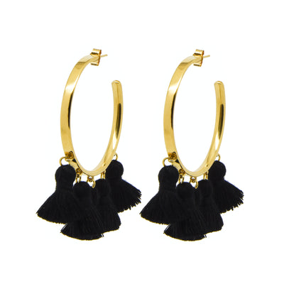 Raquel Tassel Hoops Black
