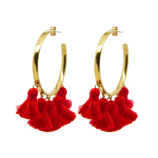 Raquel Tassel Hoops Red