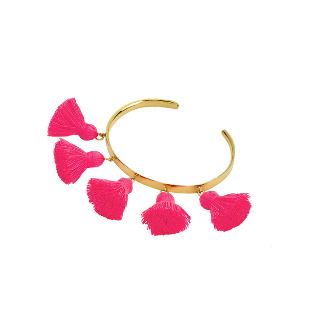 Raquel Tassel Bangle Hot Pink