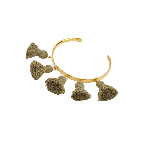 Raquel Tassel Bangle Khaki