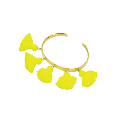 Raquel Tassel Bangle Neon Yellow