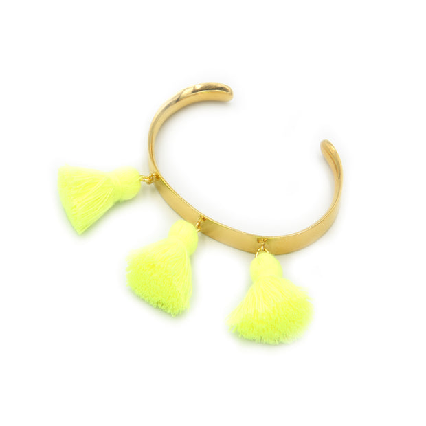 Raquel Tassel Bangle Kids Neon Yellow