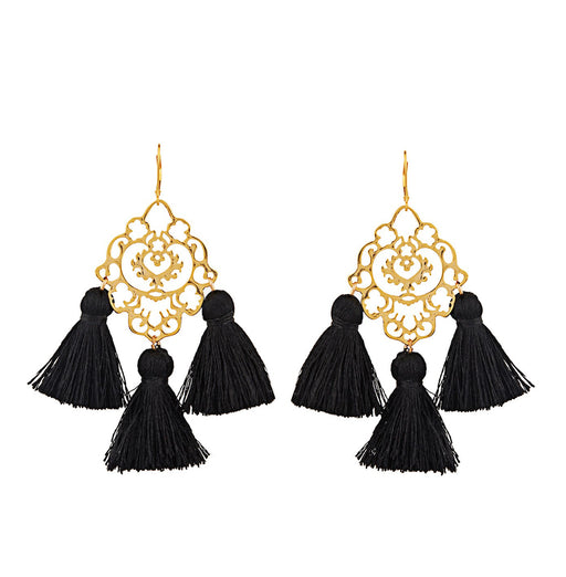 Rita Tassel Earrings Black