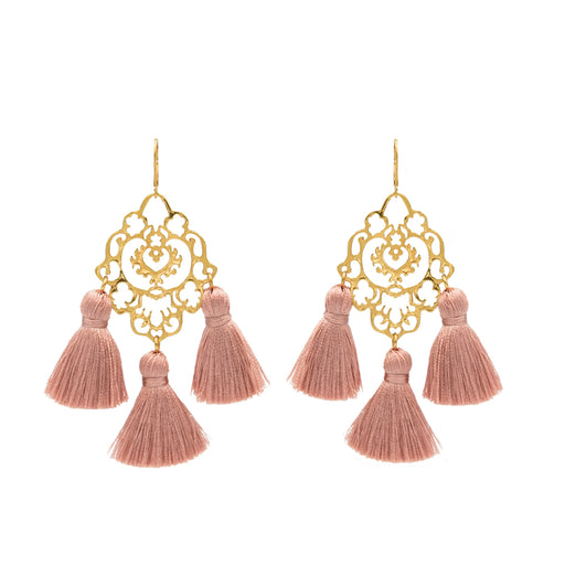 Rita Tassel Earrings Blush
