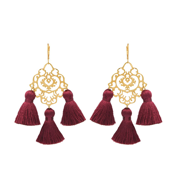 Rita Tassel Earrings Burgundy