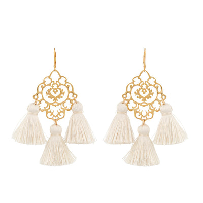 Rita Tassel Earrings Cream