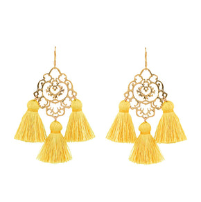 Rita Tassel Earrings Yellow