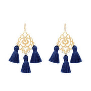 Rita Tassel Earrings Navy