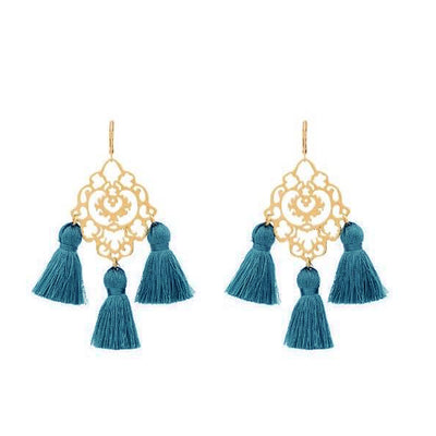 Rita Tassel Earrings Teal