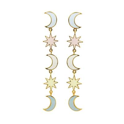 Ruby Crescent Drop Enamel Earrings