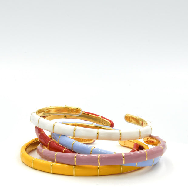 Solange Bamboo Enamel Bangle White