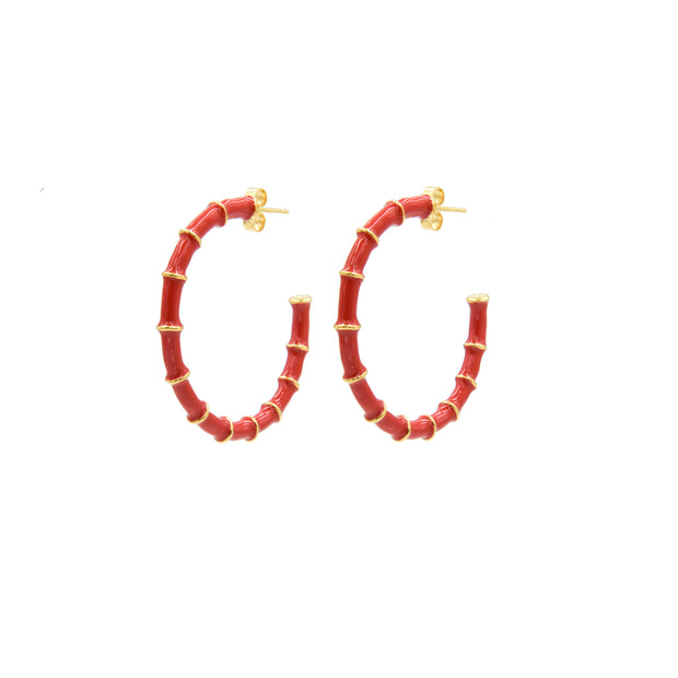 Solange Bamboo Hoops Red