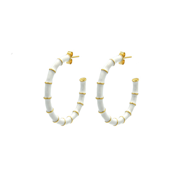 Solange Bamboo Hoops White