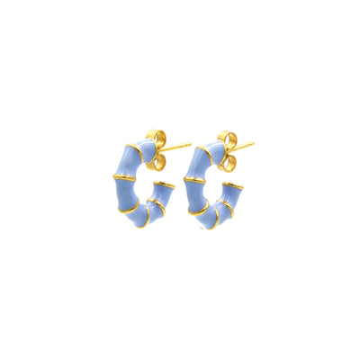Solange Bamboo Mini Hoops Blue