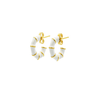 Solange Bamboo Mini Hoops White
