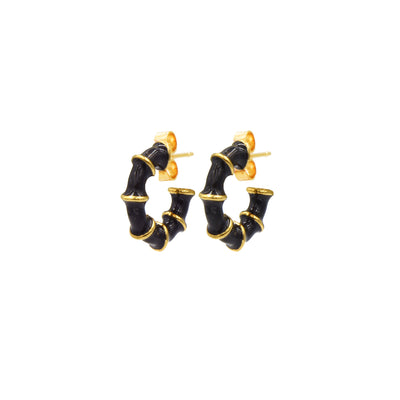 Solange Bamboo Mini Hoops Black