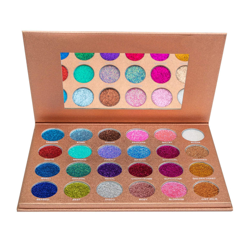Colourful eyeshadow palette with 24 Glitter shades
