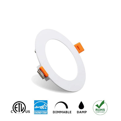 "4"" LED Recessed Slim Panel Light,9W with Junction Box, 550Lumen 12 Pack"