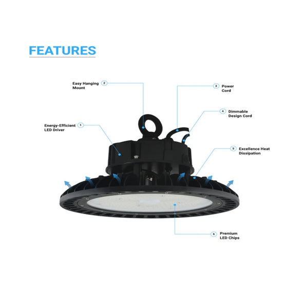 Light52 200W UFO LED High Bay 5000K