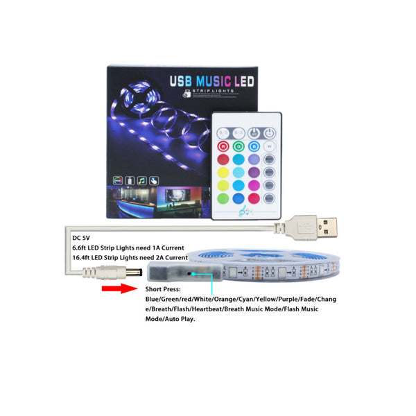 LED Strip 16.4ft USB Music Mode Non-Waterproof