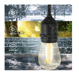 LED Solar String Light Vintage 48ft 15Bulbs+1Extra 1.5Watt