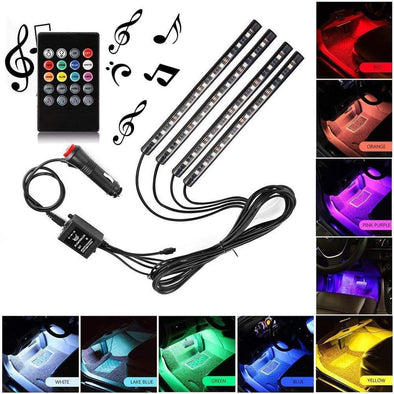 Car LED Interior Strips RGB Remote+Charger