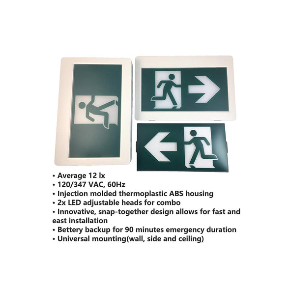 Emergency Light Exit Sign Combo Each - Light52.com