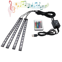 Car LED Interior Strips RGB Remote+Charger LED Car Lights