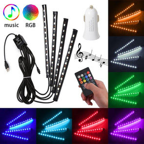 Car LED Interior Strips RGB Remote+USB LED Car Lights