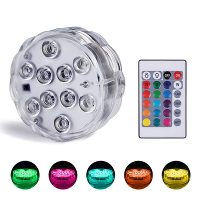 LED Submersible RGB Battery Lights W/Remote