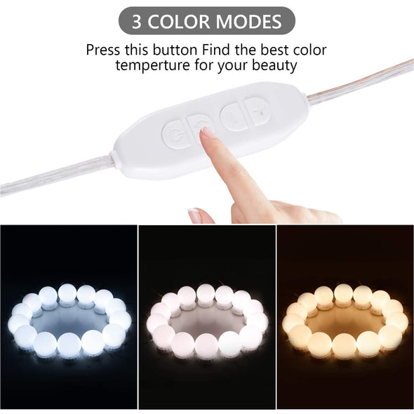 Vanity Mirror Light 10 Bulb USB 3 Color modes dimmable