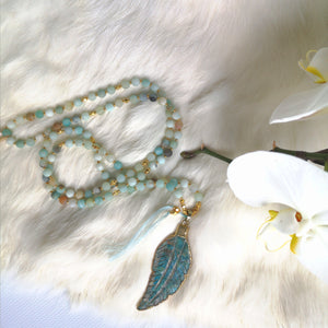 Amazonite Feather Mala