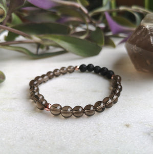 Smoky Quartz Essential Oil Diffuser Bracelet
