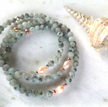 Load image into Gallery viewer, Kiwi Jasper & Pearl Anklet