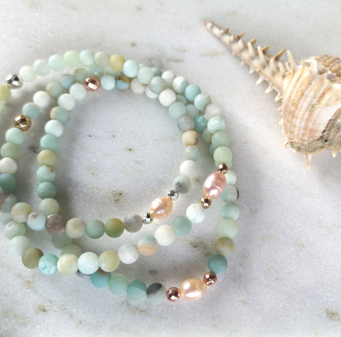 Amazonite & Pearl Anklet