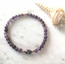 Load image into Gallery viewer, Amethyst & Pearl Anklet