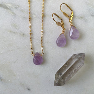 Amethyst Drop Jewelry Set