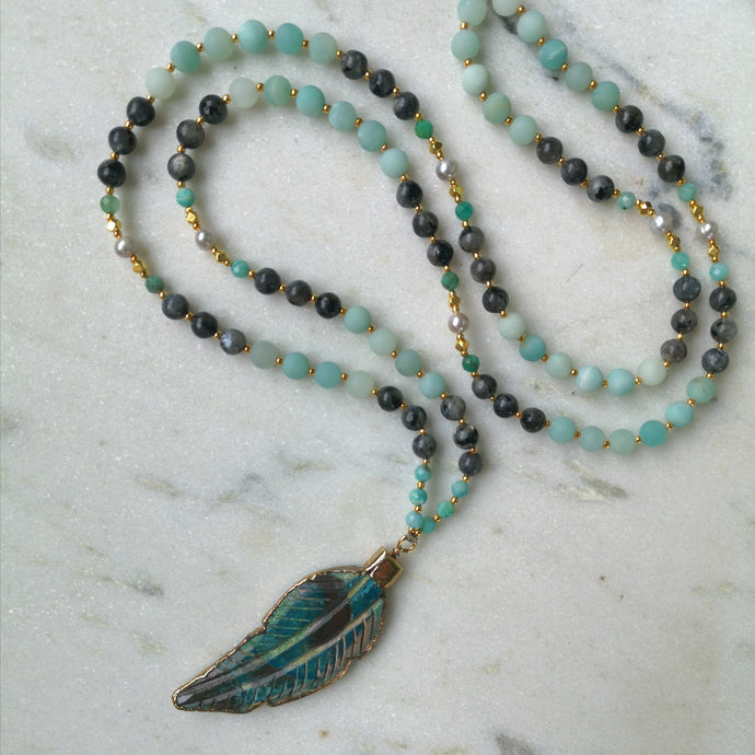 Amazonite Feather Mala - Labradorite & Pearl