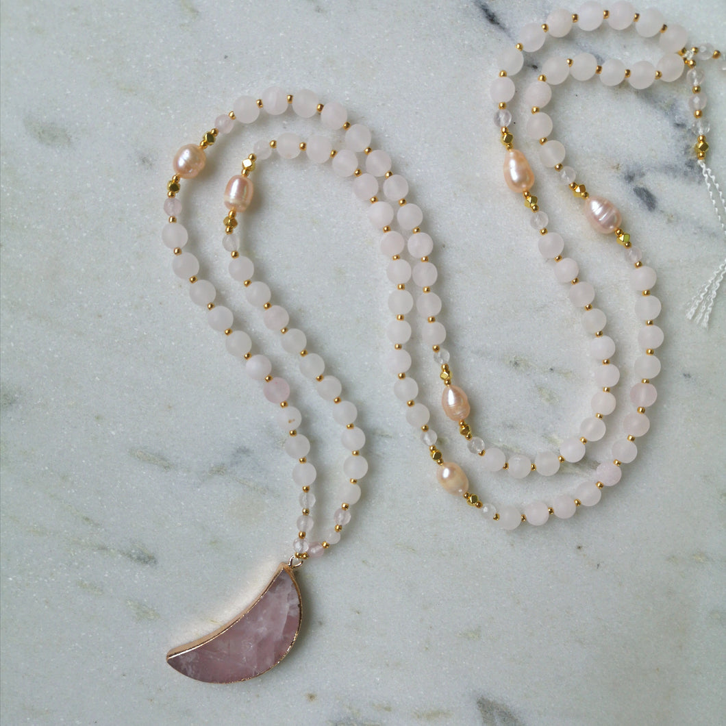 Crescent Moon Mala - Rose Quartz & Pearl
