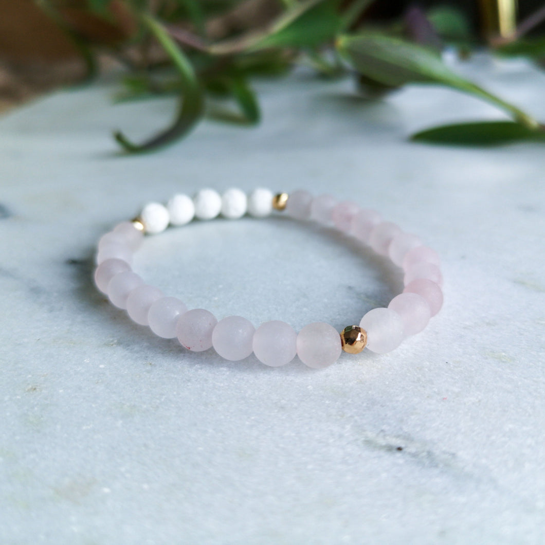 Rose Quartz Essential Oil Diffuser Bracelet