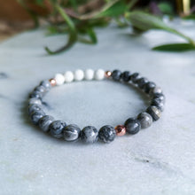 Load image into Gallery viewer, Grey Jasper Essential Oil Diffuser Bracelet