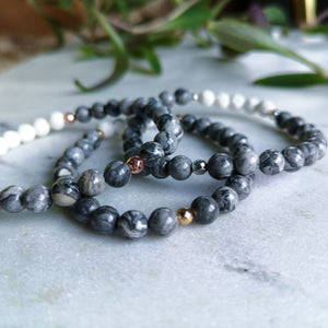 Grey Jasper Essential Oil Diffuser Bracelet