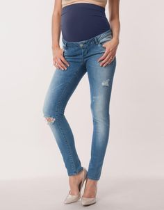 107be27320fc3 Bending over or reaching up will not expose your stomach when wearing a  pair of over bump maternity jeans.