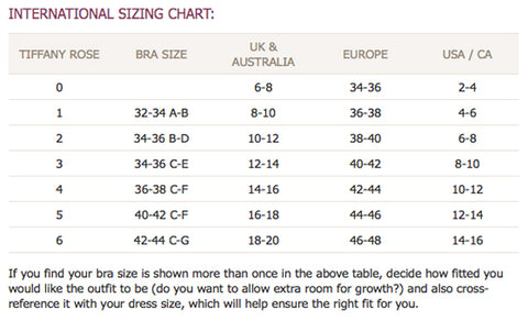 Tiffany Rose Size Guide
