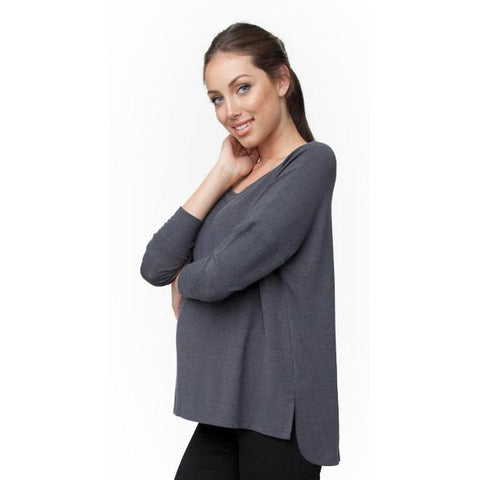 Ripe Maternity Knit Hi Lo Top, Maternity Tops Nursing Tops Canada,- Luna Maternity & Nursing