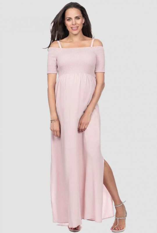 d34444e2a0d03 Seraphine Brylee Shirred Off Shoulder Pink Maternity Maxi Dress